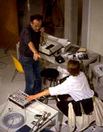 Robert Adrian and Otto Mittmannsgruber coordinating fax and telephone exchange with Vienna. The World in 24 Hours.